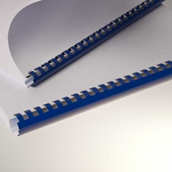 Dorsi plastici per rilegatura a 21 anelli blu