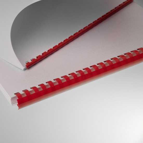 Dorsi plastici per rilegatura a 21 anelli rosso